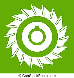 Circular saw disk icon green - Circular saw disk icon white ...
