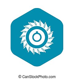 Circular saw disk icon, simple style