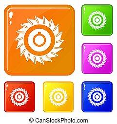 Circular saw disk icons set color - Circular saw disk icons ...