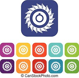 Circular saw disk icons set flat
