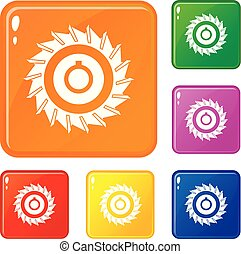 Circular saw disk icons set vector color - Circular saw disk...
