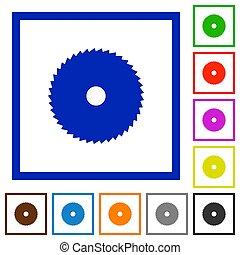Circular saw flat framed icons