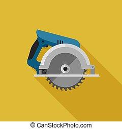 Circular saw flat icon