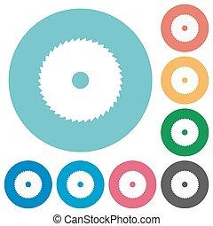 Circular saw flat round icons