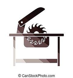 Circular saw icon. Flat color design. Vector illustration.