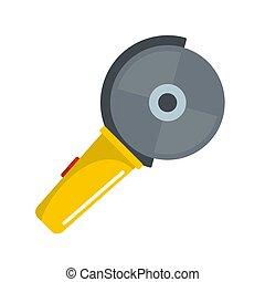 Circular saw icon, flat style
