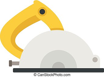 Circular saw icon, flat style - Circular saw icon. Flat ...