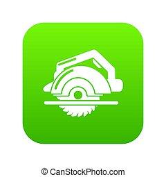 Circular saw icon green