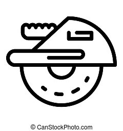 Circular saw icon, outline style