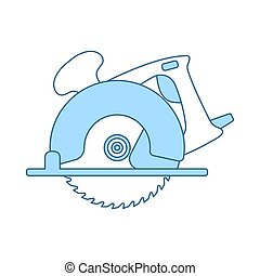 Circular Saw Icon. Thin Line With Blue Fill Design. Vector ...