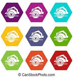 Circular saw icons set 9