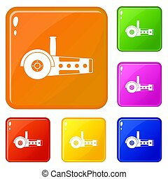 Circular saw icons set color