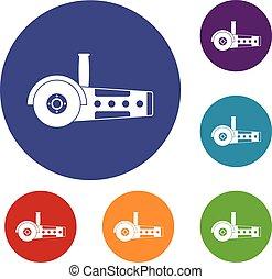 Circular saw icons set