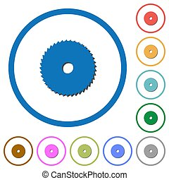 Circular saw icons with shadows and outlines