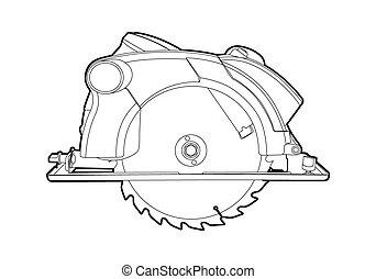 Circular saw - Vector outline circular saw on white...