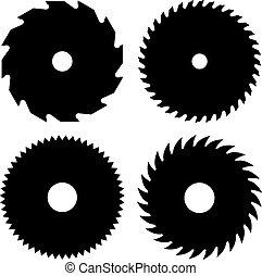 Circular saw blades shapes vector illustration