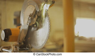 Circular saw in the furniture workshop for the production...