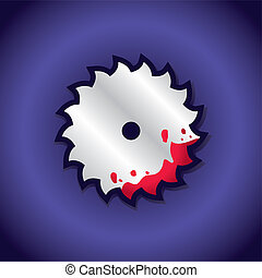 Circular saw label with blood as template for text