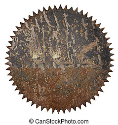 Old rusty circular saw blade background without hole.