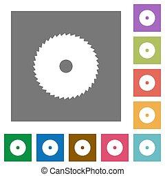 Circular saw square flat icons