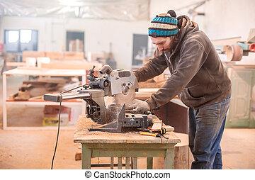 Circular Saw  - Carpenter Using Circular Saw for wood