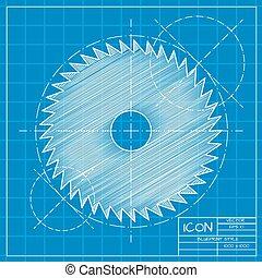 Circular Saw - Vector blueprint circular saw icon on...