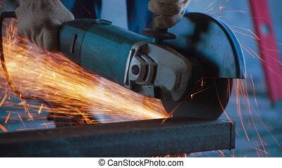 Circular saw working process sparks