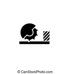 Circular sawbench black icon concept. Circular sawbench flat  vector symbol, sign, illustration.