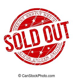 Circular scratched sold out red stamp