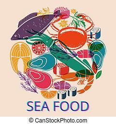 Seafood Graphic with Various Fish and Shellfish - Circular...