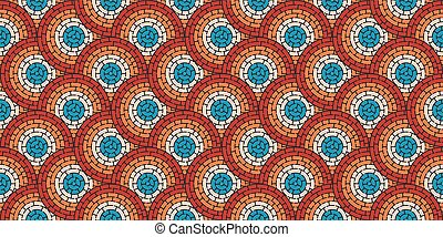 Circular seamless pattern of colored labyrinth with dots, flat