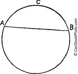 Circular segment vintage engraving