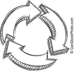 circular, setas, doodle, três