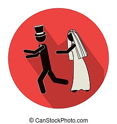 circular shape pictogram of wife chasing husband