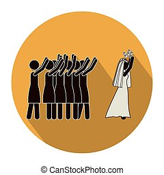 circular shape pictogram of wife throwing a bouquet