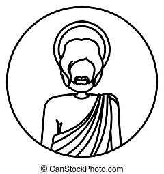 circular shape with contour half body figure human of saint joseph
