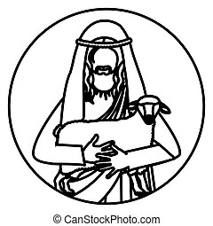circular shape with silhouette half body jesus carrying a sheep