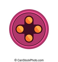 circular shape with yellow buttons for games