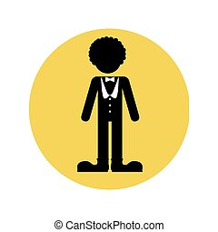 circular silhouette with circus entertainer