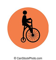 circular silhouette with man in penny farthing