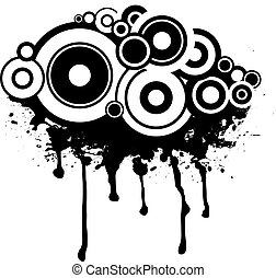 Splat black and white design with a circular gothic background