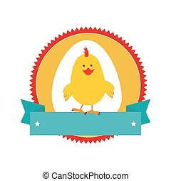 circular stamp with silhouette chicken animal and ribbon