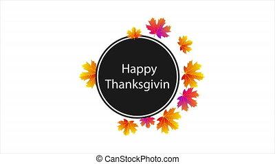 Circular sticker happy thanksgiving, art video illustration.