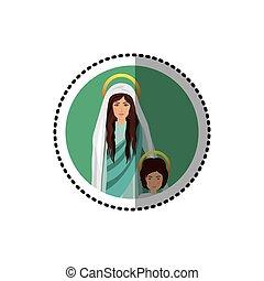 circular sticker of saint virgin mary with child jesus