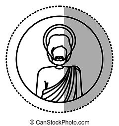 circular sticker with contour half body figure human of saint joseph