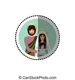 circular sticker with half body picture of sacred family