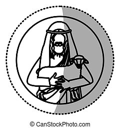 circular sticker with silhouette half body jesus carrying a sheep