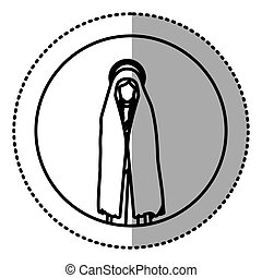 circular sticker with silhouette of saint virgin mary