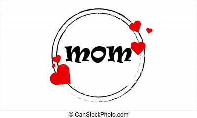 Circular stickers with hearts for mothers day