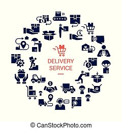 Circular template delivery logistic set in flat style. Vector icons for web, infographic or print.